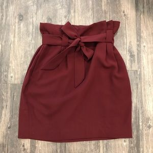 Express Burgundy High-Waisted Skirt with Pockets